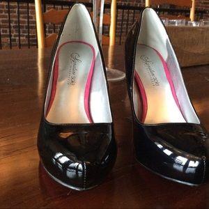 Black patent platform heels